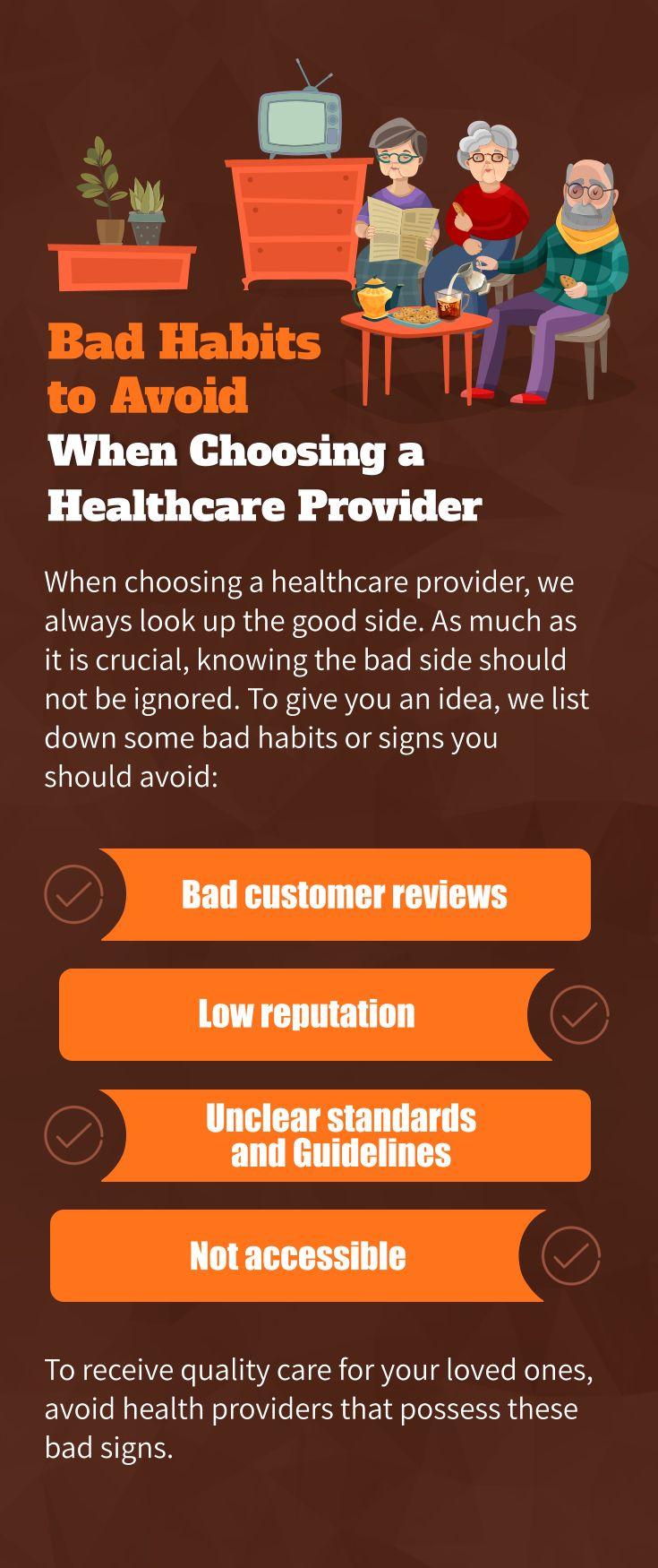 Bad habits to avoid when choosing a healthcare provider