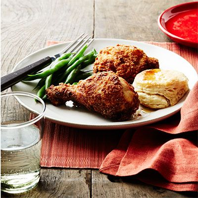 The Southern States lay claim to this dish. The chicken can be soaked in buttermilk (such as in this recipe), milk, or brine, dusted with spices or kept plain, and fried in oil or even lard. But one thing stays the same: It has to be crispy.