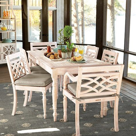 Ceylon Whitewash 7piece Rectangular Dining Set   Ballard Designs Dining  Chairs