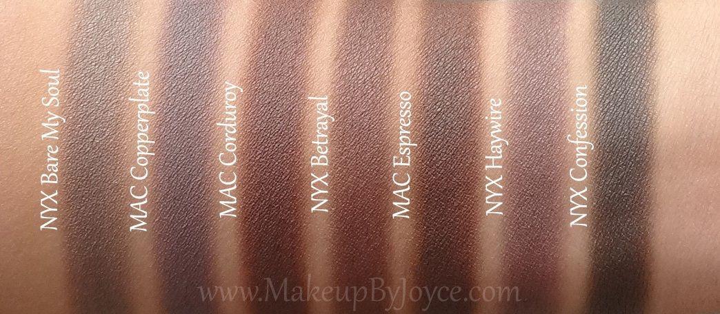 NYX+Betrayal+MAC+Espresso+Corduroy+Dupe+Swatch.jpg 1,044×456 pixeles