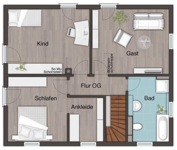Grundriss Obergeschoss - Stadthaus Flair 152 RE House - offene kuche wohnzimmer grundriss