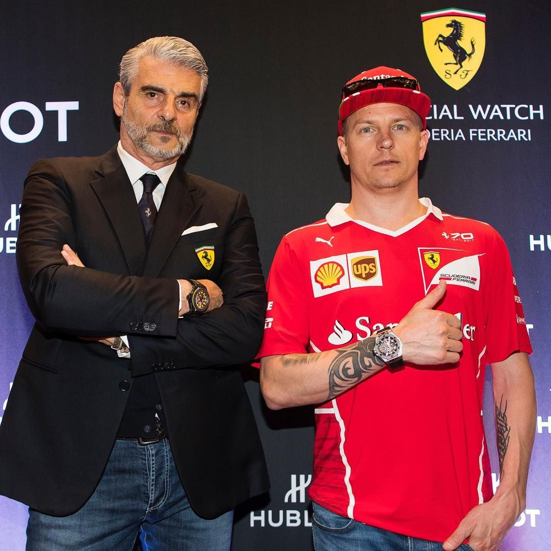 Hublot welcomes @ScuderiaFerrari driver Kimi Räikkönen and Team Principal Maurizio Arrivabene for Canadian debut of the #BigBangFerrari collection. #ScuderiaFerrari #CanadianGP #Kimi7