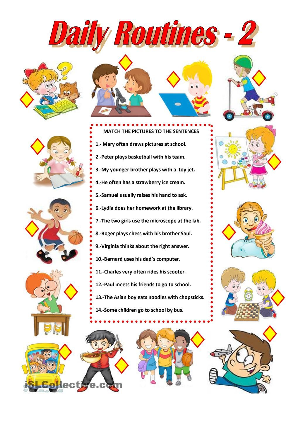 DAILY ROUTINES- 2 worksheet - Free ESL printable worksheets made ...