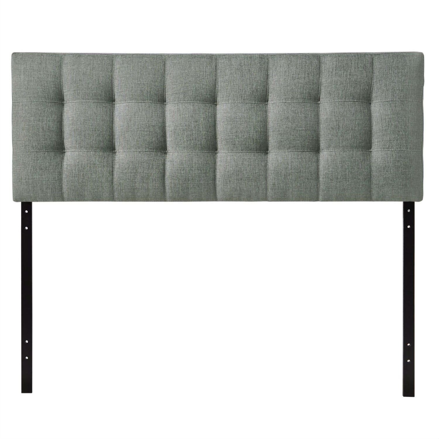 King Size Grey Fabric Upholstered Headboard With Modern Tufting 2