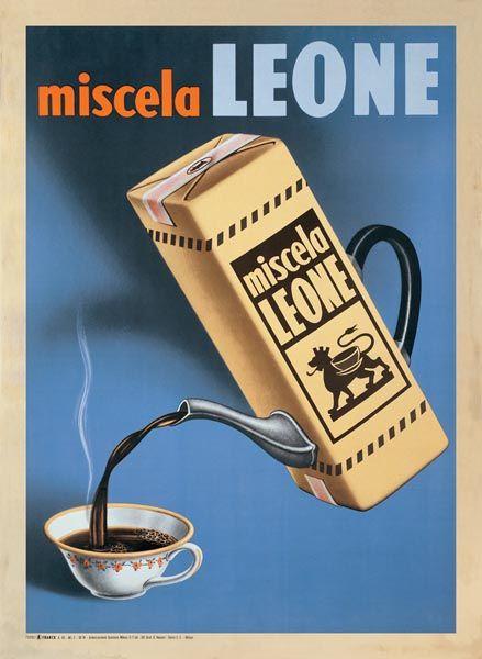 Caffe Miscela Leone 1950 Italian Coffee Advertisement Vintage Poster Print