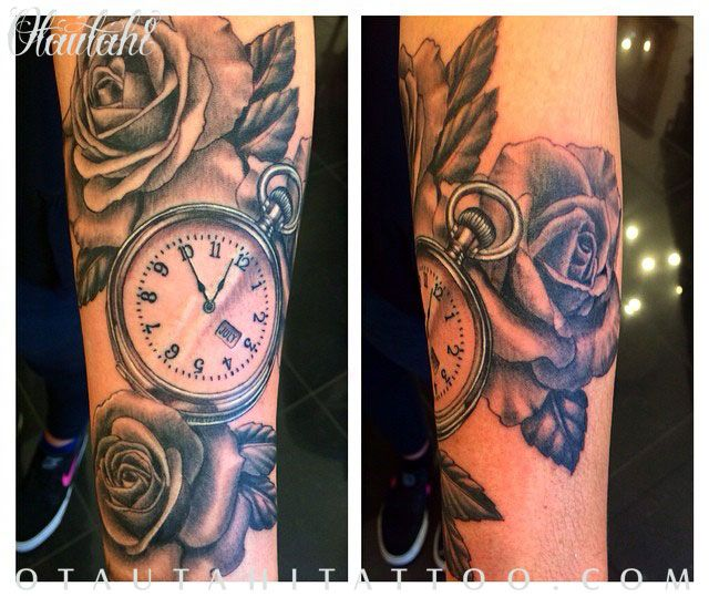 Otautahi Tattoo Queenstown Jeremy Hill Pocket Watch Roses Realism