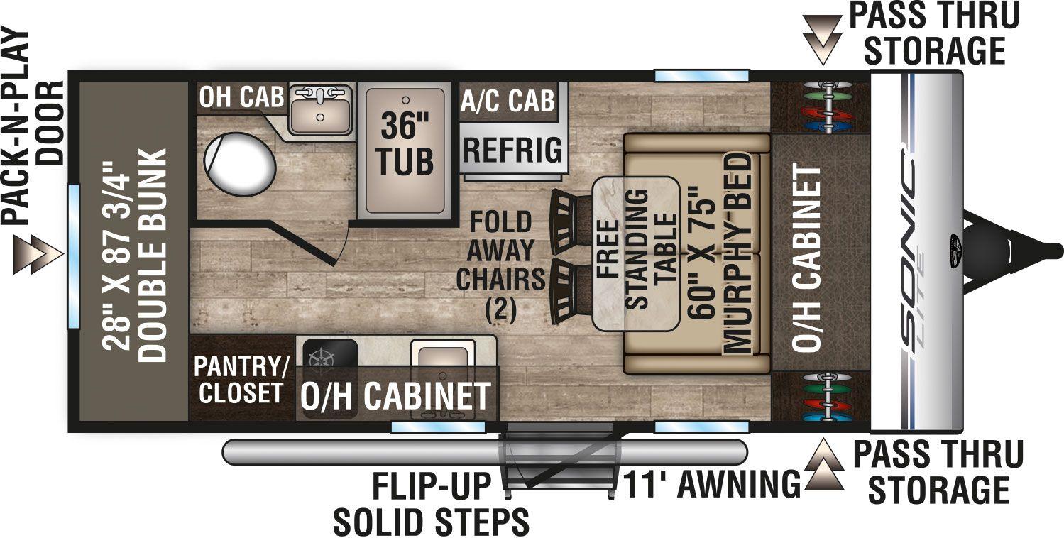 2019 Venture Rv Sonic Lite Sl169vbh Travel Trailer Floorplan
