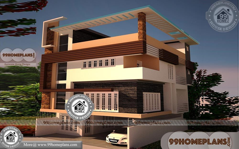 3 Storey House Plans with Flat / Apartment Style Home ...
