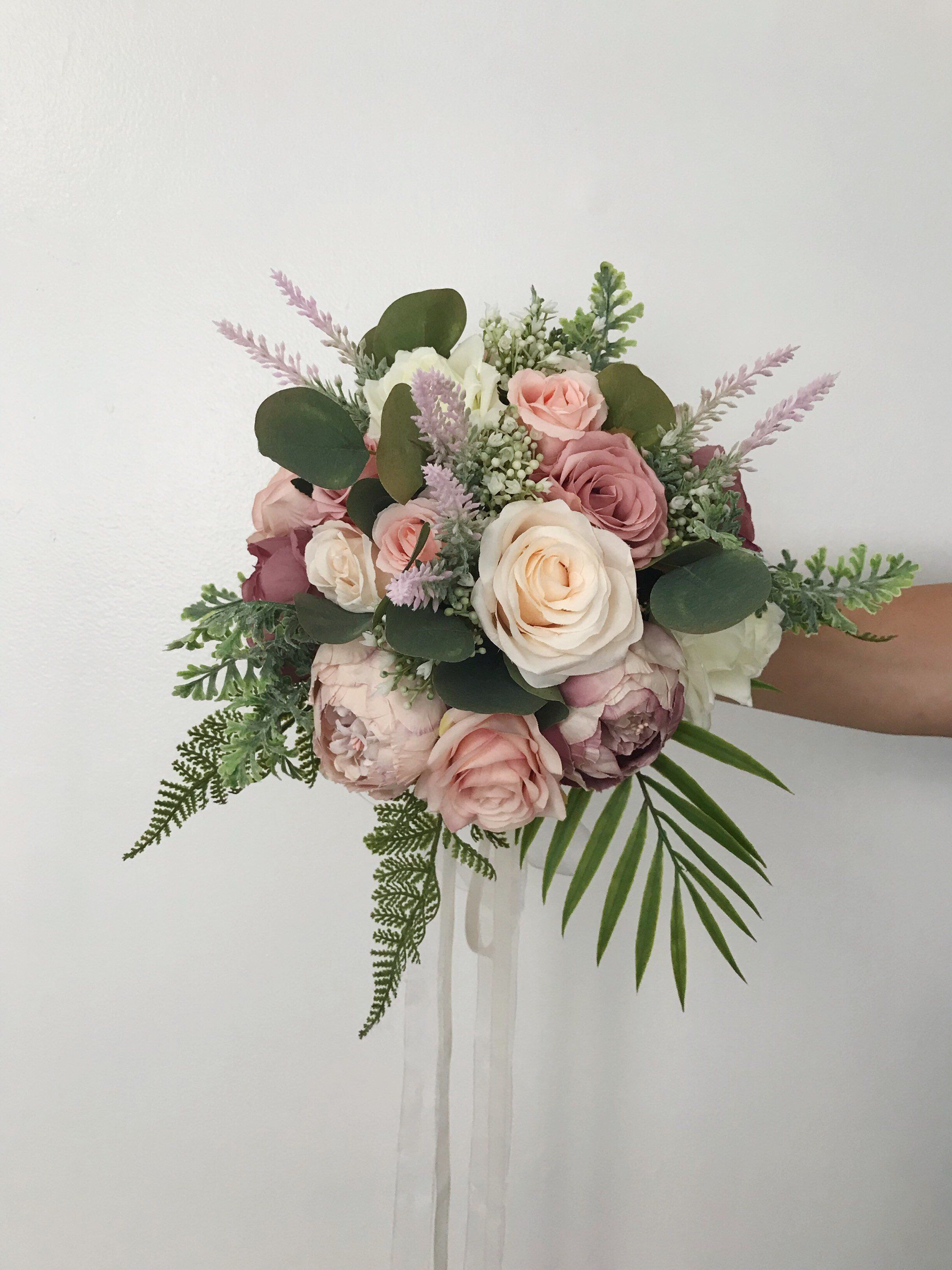 Wedding Bouquets, Bridal Bouquets, Bridesmaids bouquets, Boho Bouquets, Blush, Dusty Rose, Mauve, Eucalyptus, Ivory, Cream #bridesmaidbouquets
