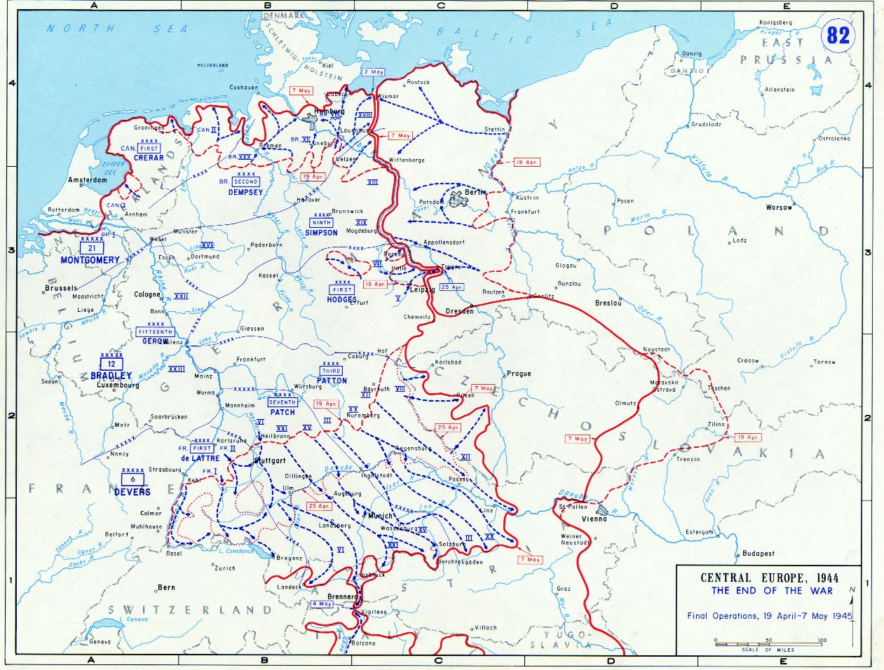 Allied Battle Lines In Germany From April To May - Map of europe ww2