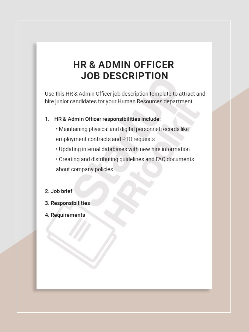 Use this HR & Admin Officer job description template to