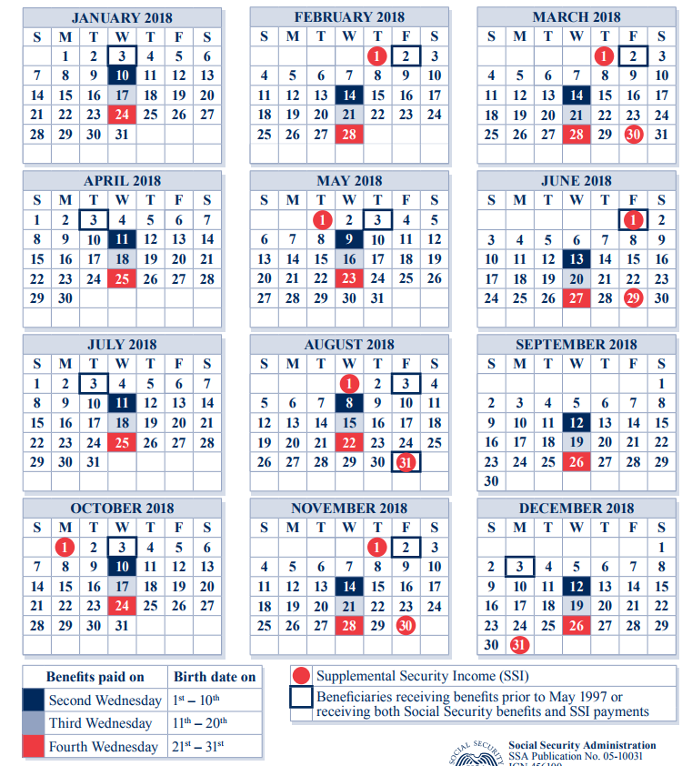 2018 Social Security Payment Schedule Payment Schedule Social