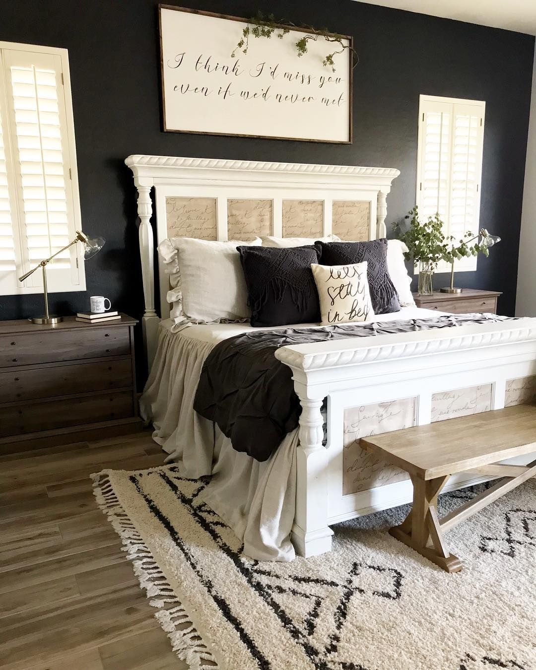 Black Accent Walls Black Accent Wall White Headboard Bedroom In 2019 Home