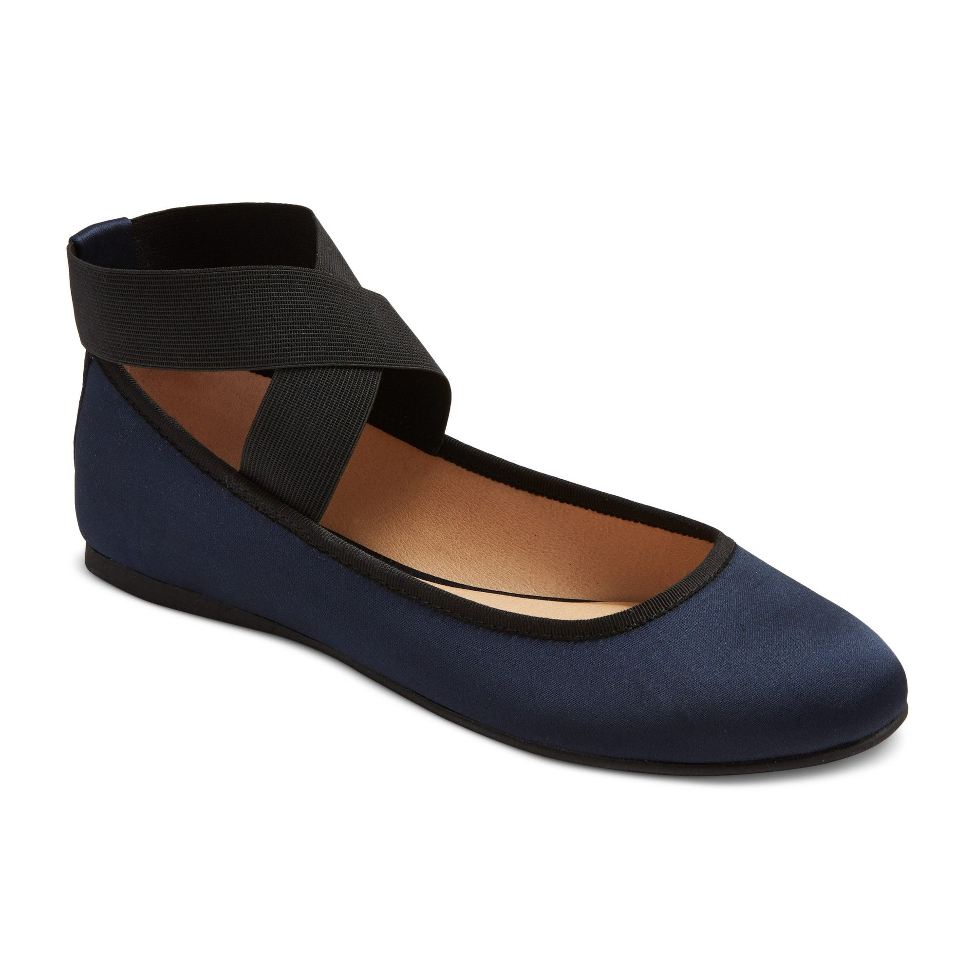 Women's Jane Elastic Ankle Wrap Ballet Flats - Mossimo Supply Co. Navy  (Blue)