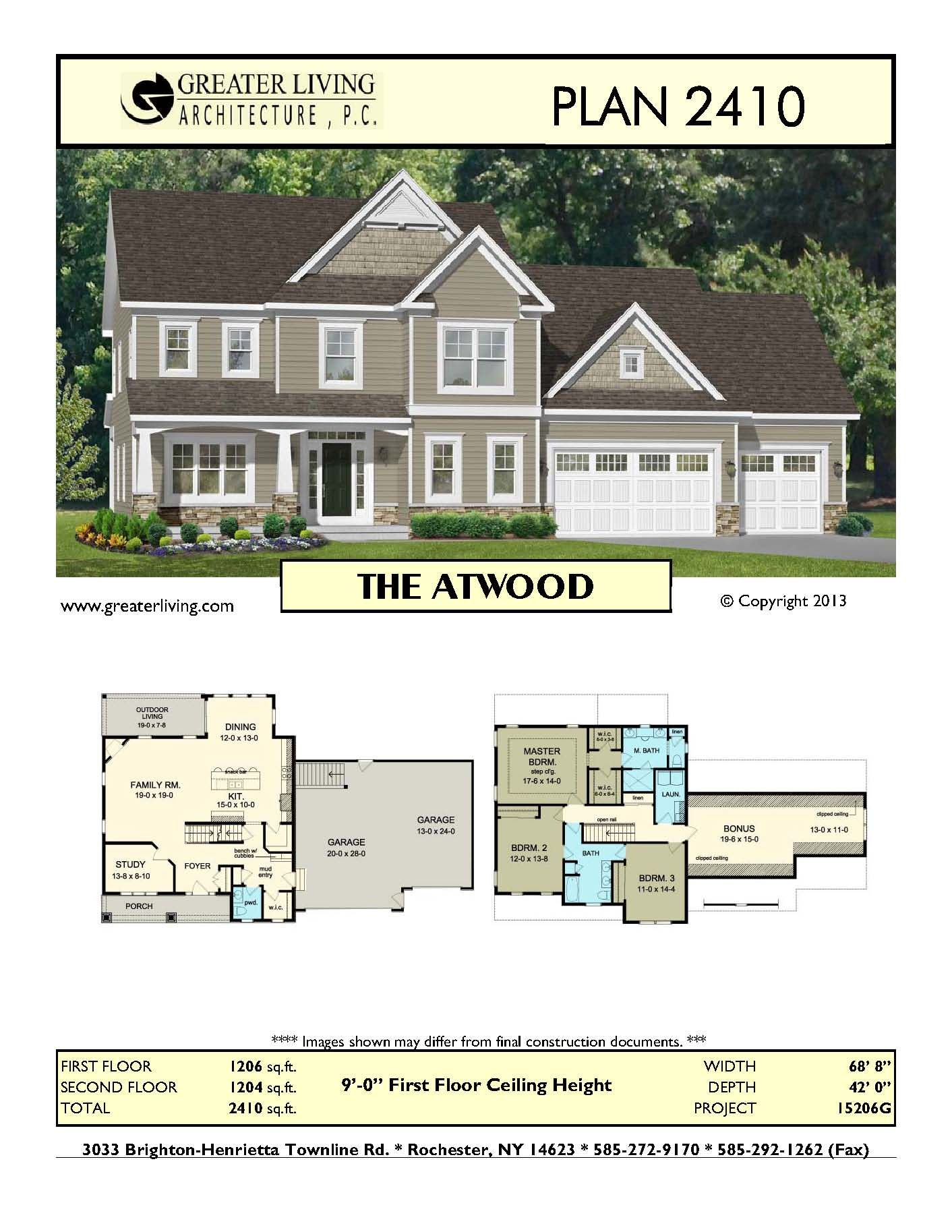 Plan 2410 the atwood house plans two story house for Luxury empty nester house plans