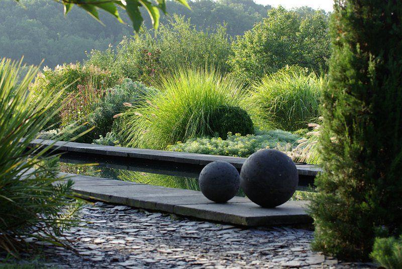 Jardin contemporain avec bassin en ardoise | Jardin | Pinterest ...
