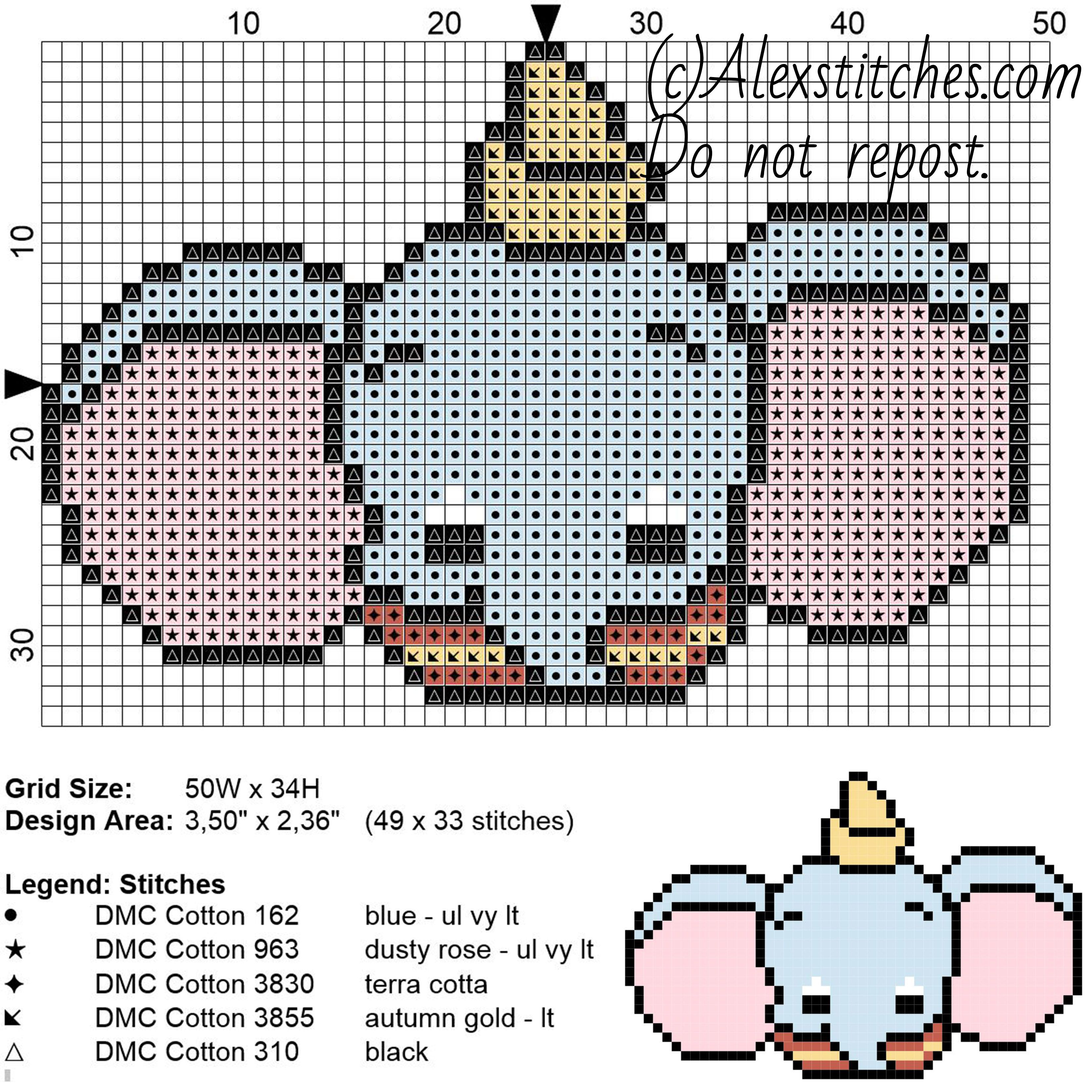 Dumbo Disney Cuties free cross stitch pattern 50x34 5 colors