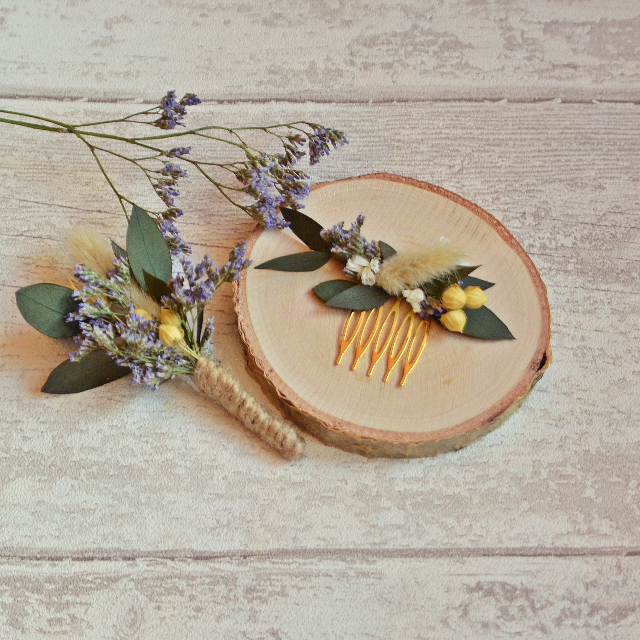 Dried flowers country hair comb natural headpiece real preserved eucalyptus fall hairpiece bridal hair clip bard wedding