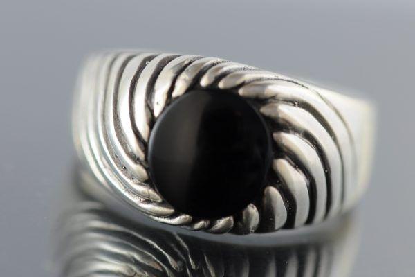 Anello argento onice nero