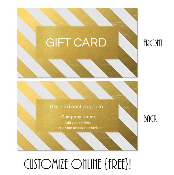 Gold Gift Card Template With Gold Diagonal Stripes  Create Gift Certificate Online Free