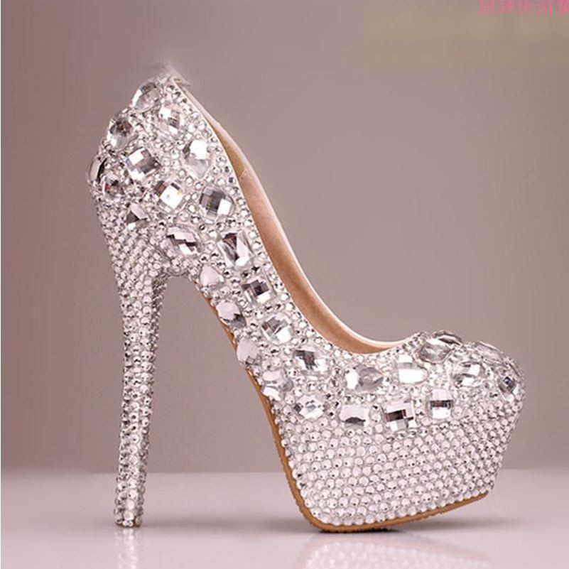 cbea97e45e89a High Heels Handmade Fully Rhinestone Pointed Toe Crystal Wedding Shoes –  LoverBridal