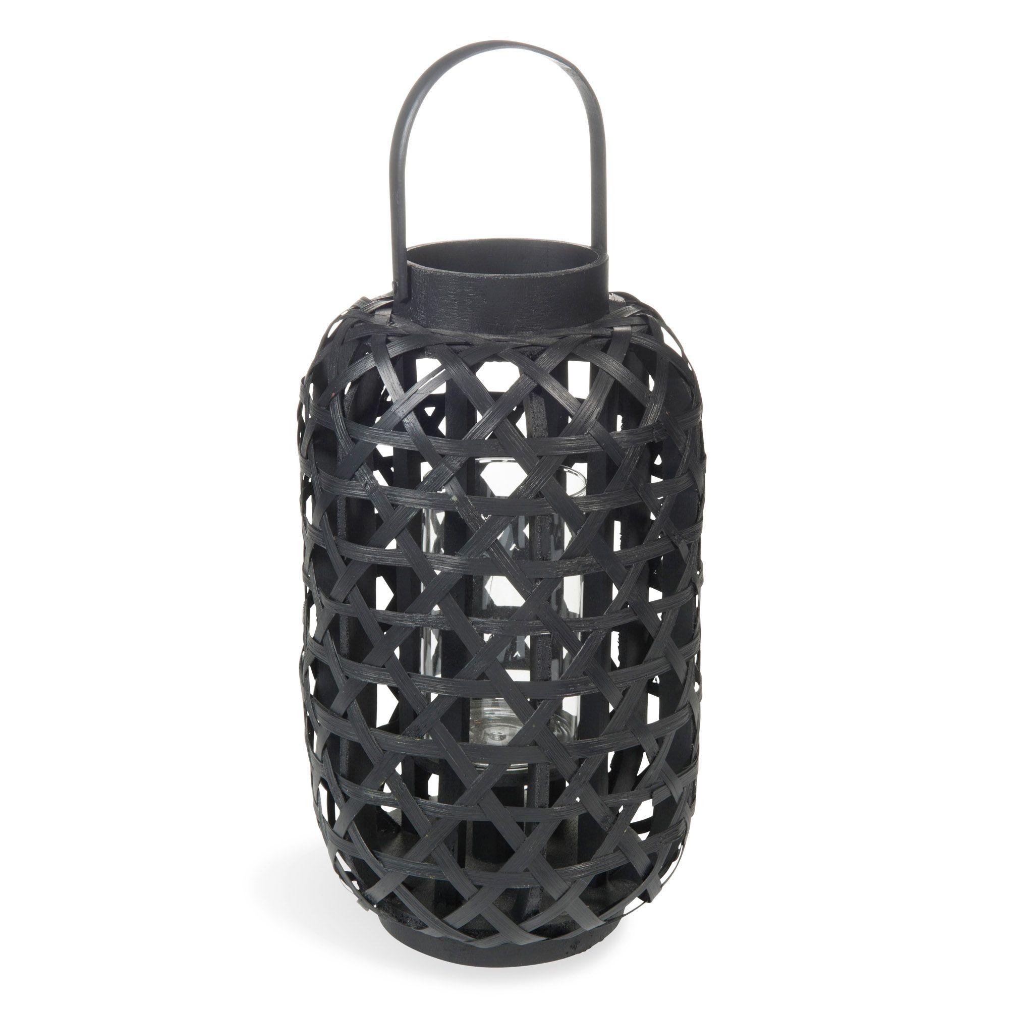 lanterne en bambou noire h 33 cm comodoro maisons du. Black Bedroom Furniture Sets. Home Design Ideas