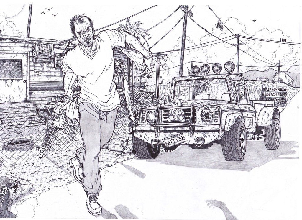 Gta 5 Coloring Pages Inspirational Trevor Philips By Within Gta Gta 5 Grand Theft Auto Artwork