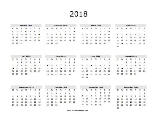 2018 Calendar Printable One Page Http Calendarprintablehub Com 2018 Calendar Printable Calendar Printables Free Printable Calendar Printable Calendar 2016