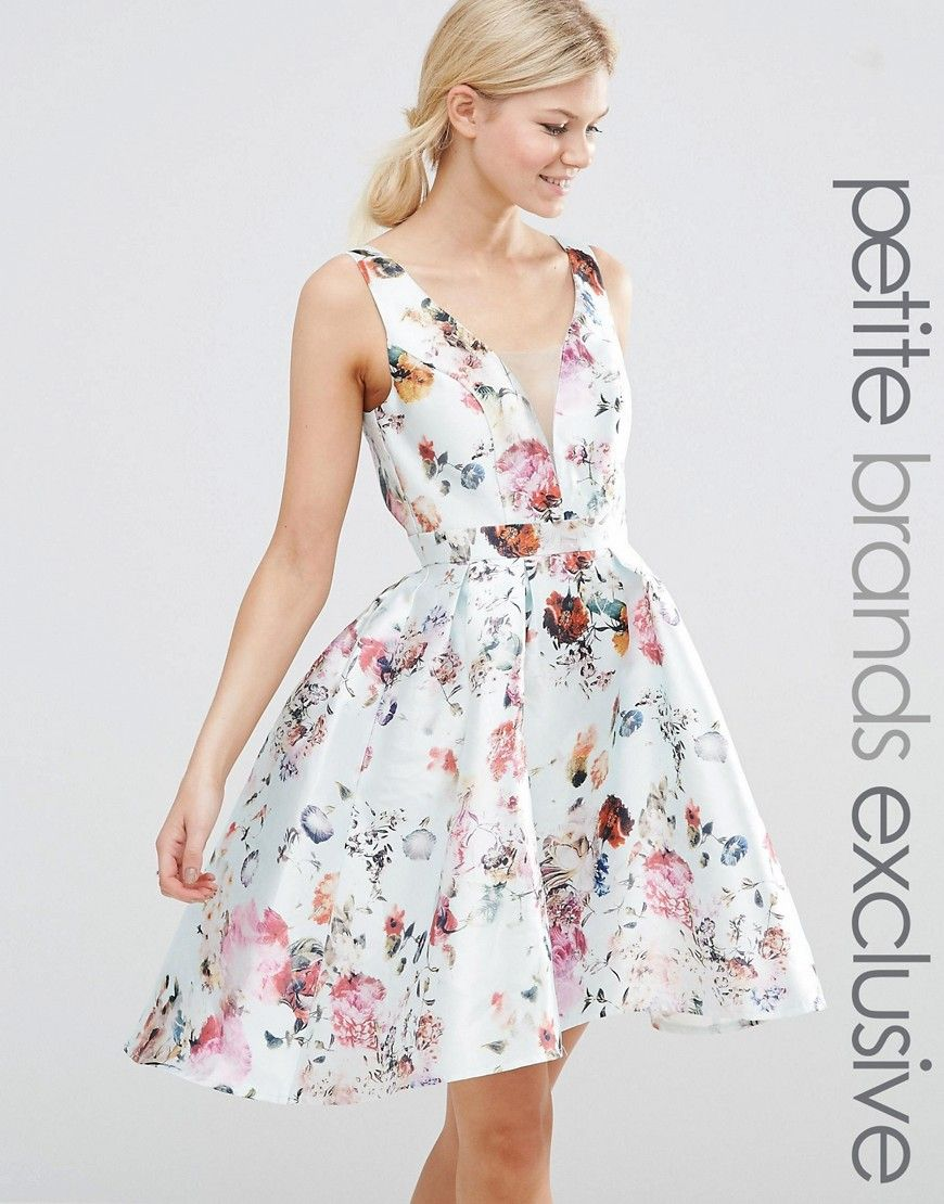 Chi Chi London Petite Plunge Front High Low Skater Dress In Allover Floral Print At Asos Com High Low Skater Dress Fit N Flare Dress Petite Dresses