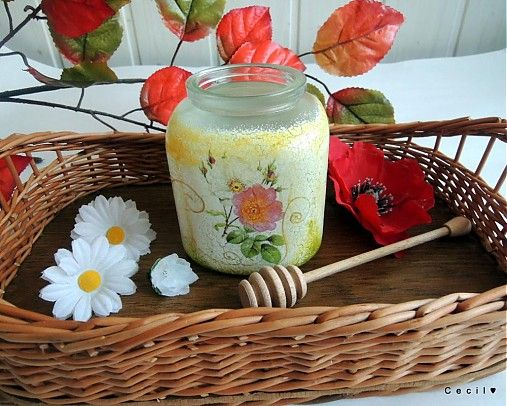 Honey container -decoupage