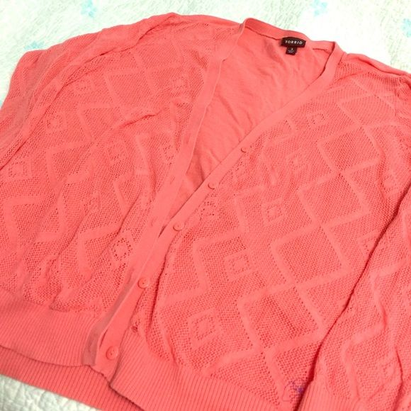 Open Work Coral Cardigan This cardigan has an open work ethnic pattern on the front and sleeves with a solid back - super lightweight! No holes or stains. torrid Sweaters Cardigans