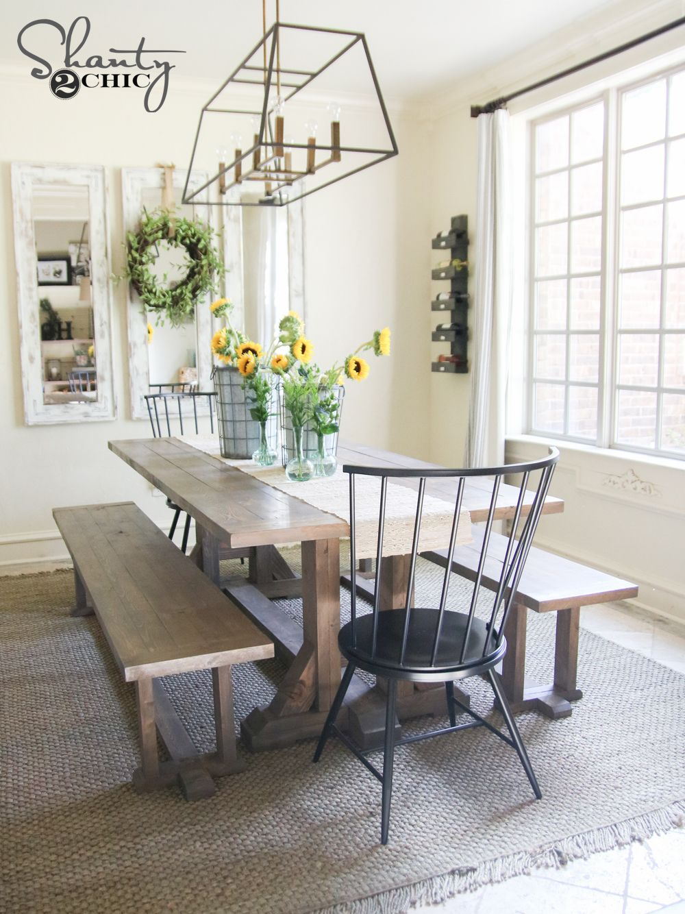 DIY Pottery Barn Inspired Dining Table for $100 | Comedores, Cabaña ...