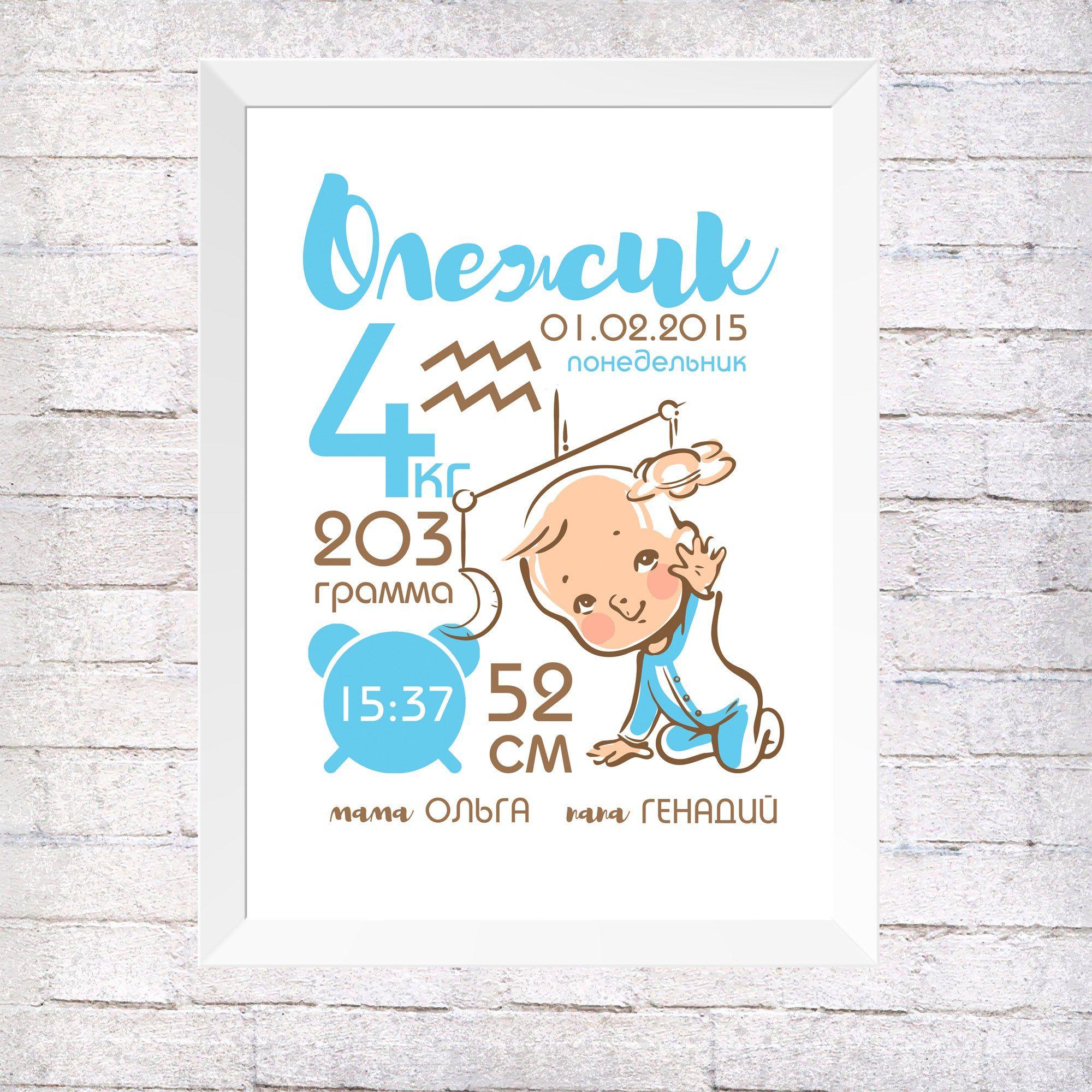 Постеры детские с метрикой