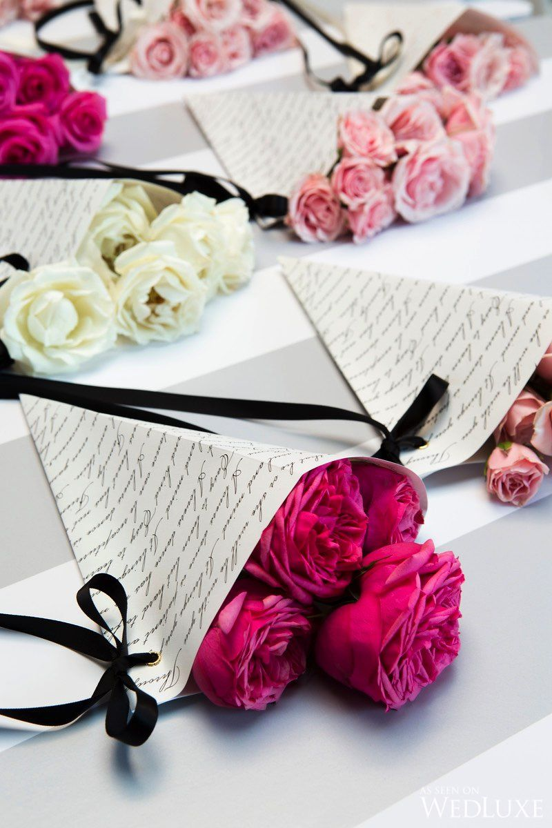 Love note wrapped roses | WedLuxe – Springtime in Paris ...