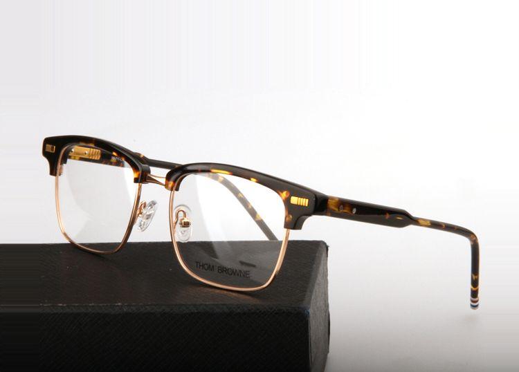 a114c9ed04d Thom Browne New York Brand tb711 acetate metal square half frame Eyeglasses  Optical Reading men Eye glasses Frame with box