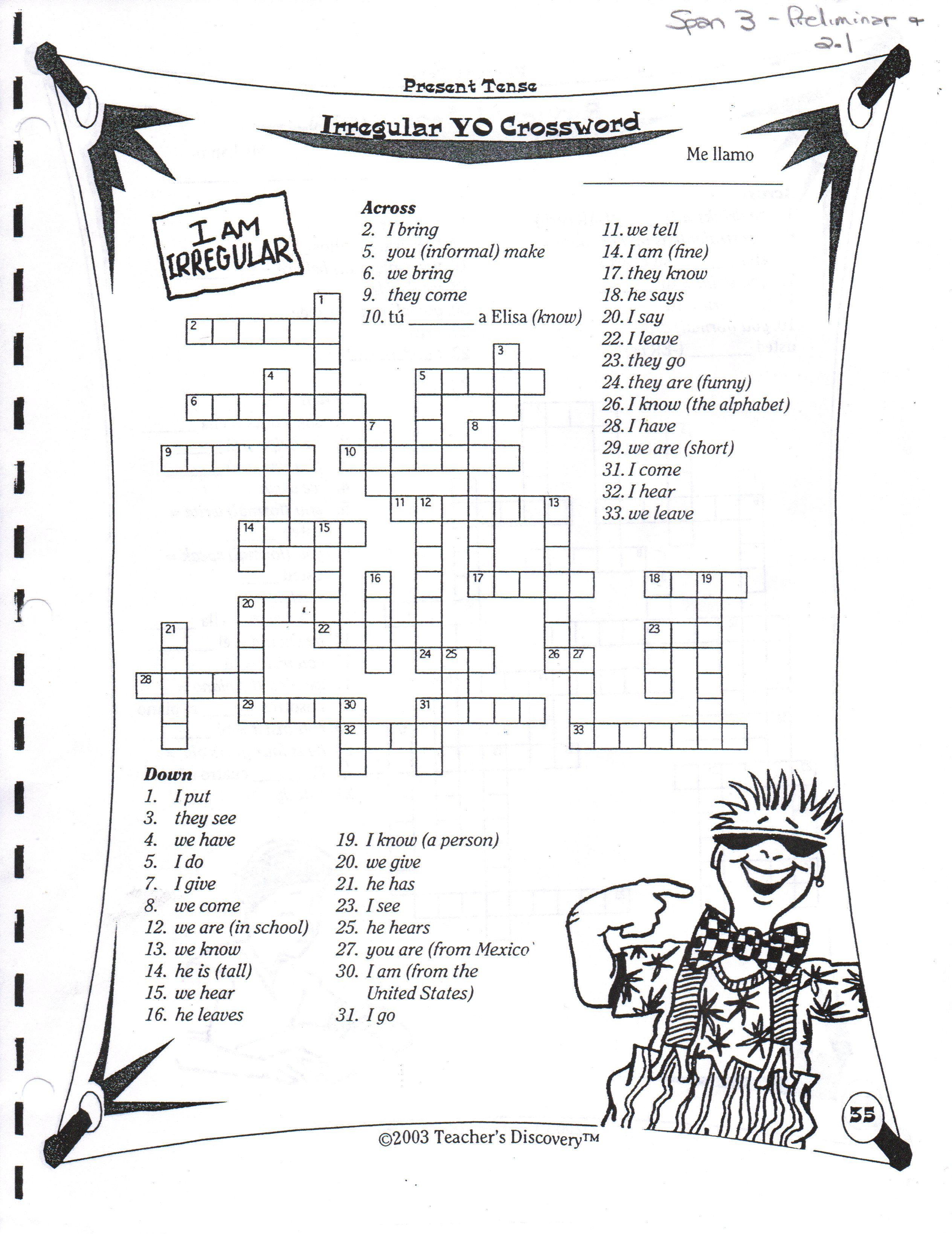 Crossword Puzzles For Spanish Class