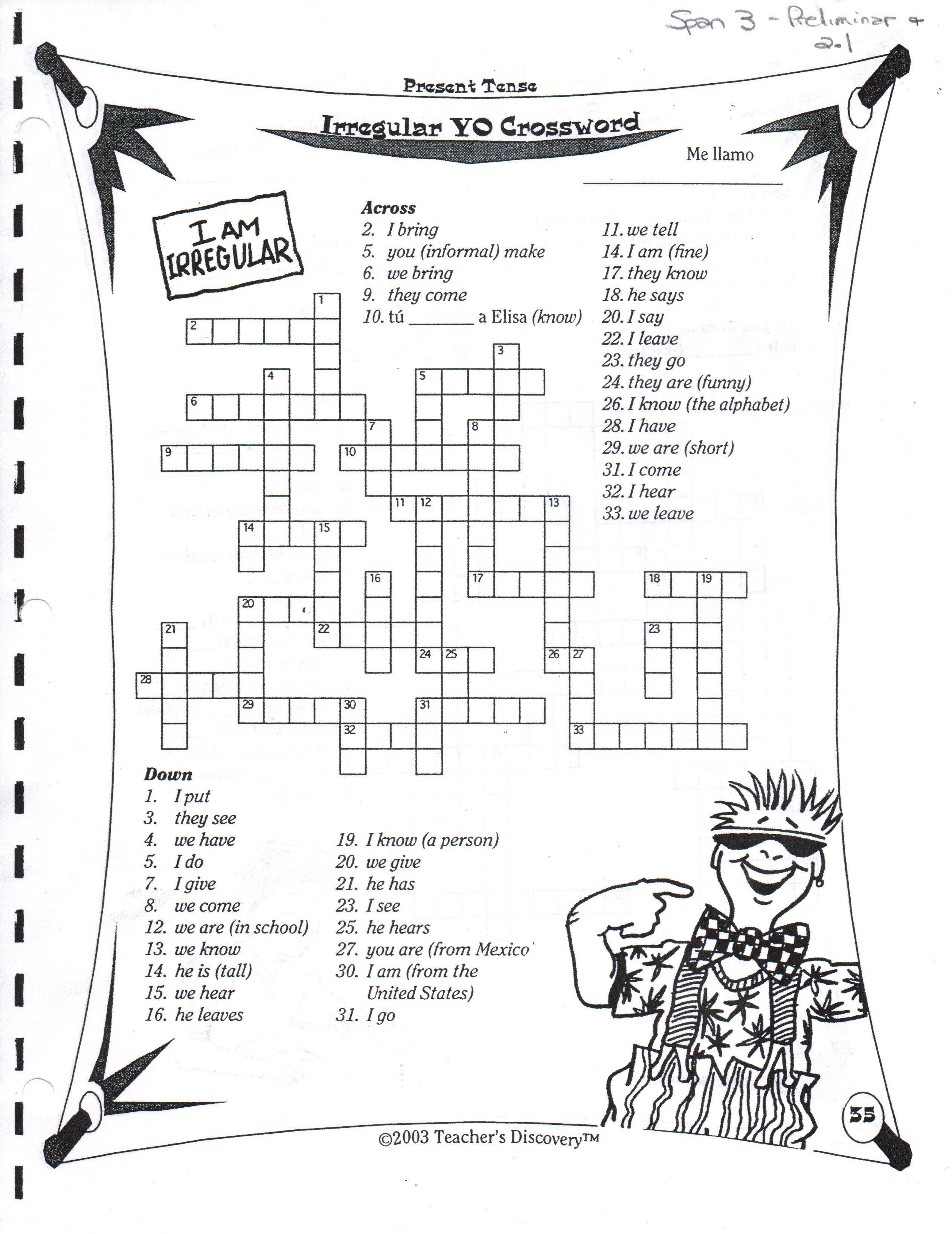 worksheet Free Printable Spanish Worksheets spanish greetings farewells expressions of courtesy crossword puzzles for class present tense yo irregulars crucigrama