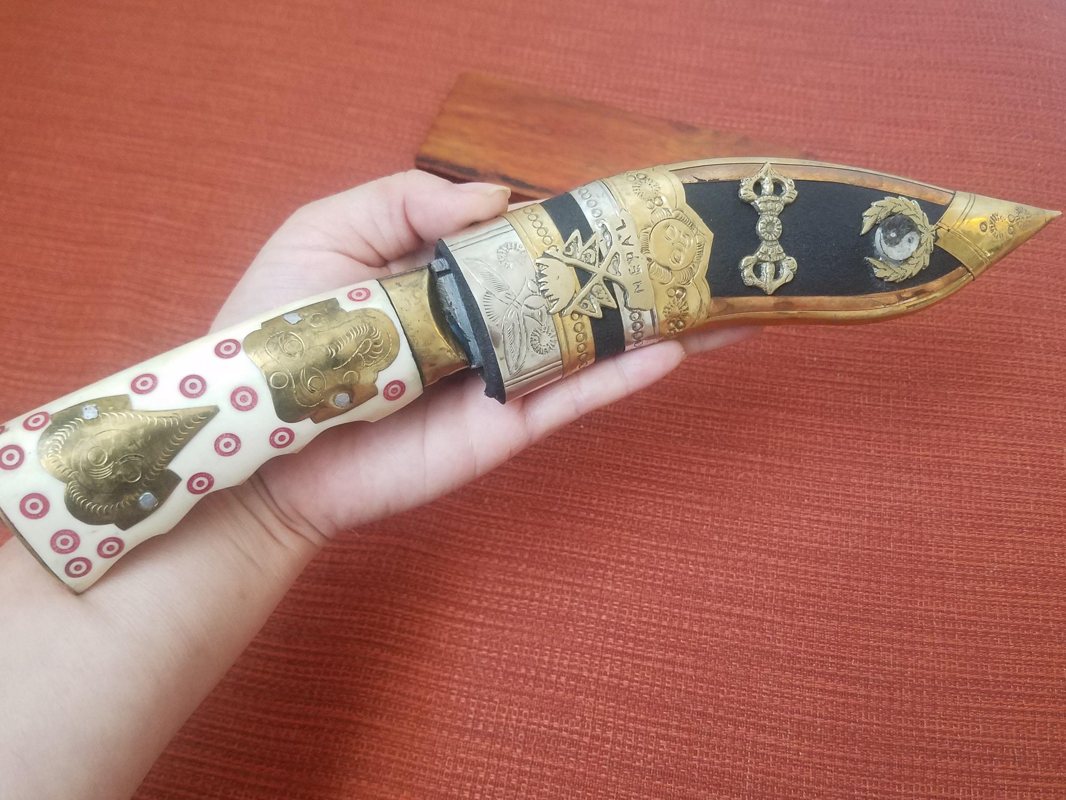 Antique Nepal Handmade Gurkha Kukri Khukuri Dagger Knife Scabbard