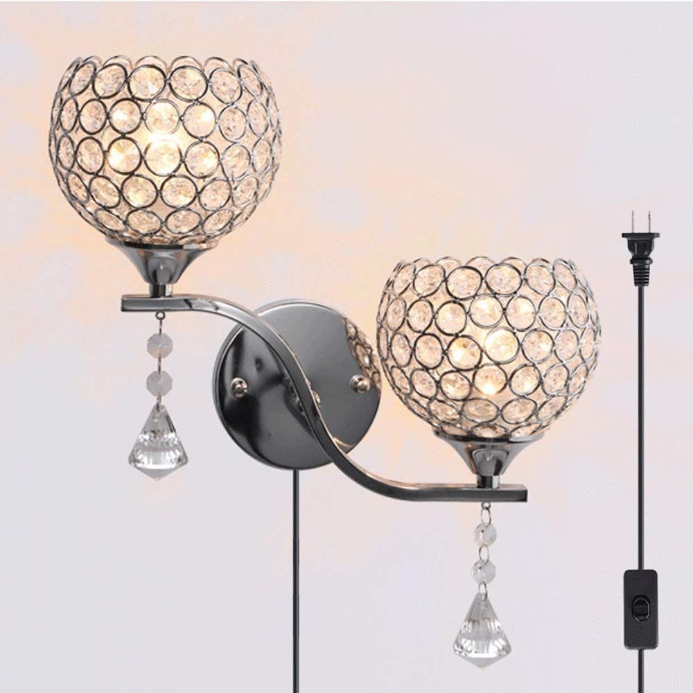 Qjy Plug In Wall Lights Crystal Wall Sconce Lighting Wall Lamp With On Off Switch Cord For Bedroom Livi Wall Lamps Bedroom Contemporary Wall Lamp Wall Lights