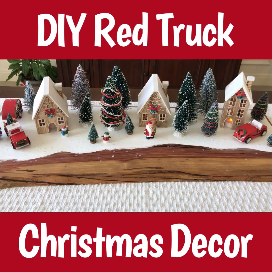 Click to see the steps, video, and all the pics to make this fun DIY Modern Farmhouse Christmas Table Centerpiece. Easy Red Truck Christmas Decor Idea. #abbottsathome #redtruck #farmhousedecor #farmhousechristmas #christmasdecor #christmascrafts #christmasdecorations