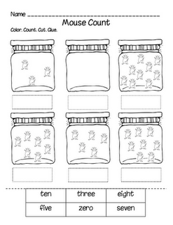 Mouse Count worksheet for book by Ellen Stoll Walsh