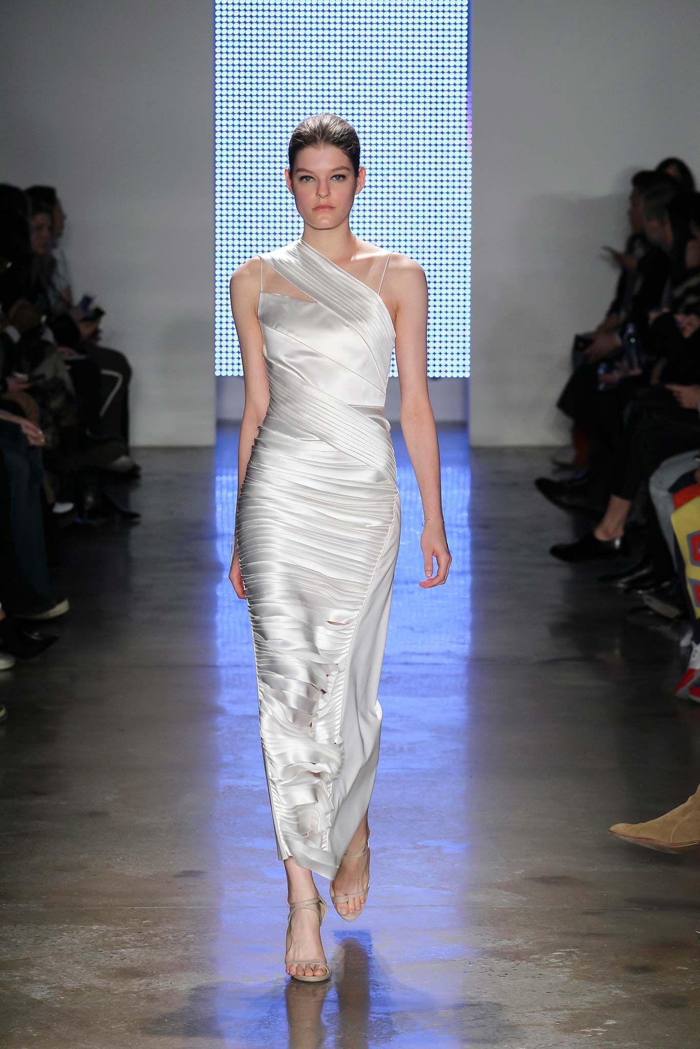 Dion Lee Fall ReadytoWear White satin one shoulder dress