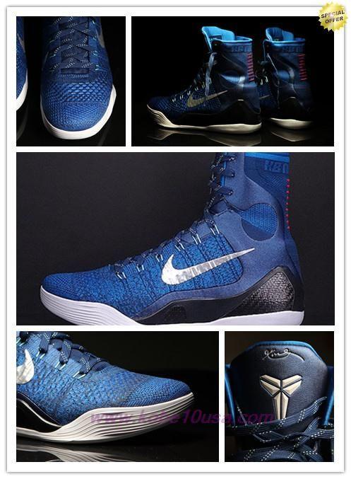 9715eb808098 Deals On Nike Kobe 9 Elite 630847-404 Brave Blue Military Blue-Dark Obsidian -Metallic Silver