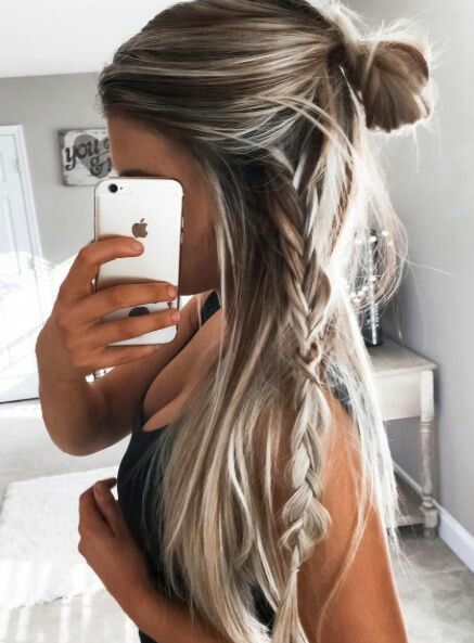 Half Up Messy Bun And Side Braid Hair Color And Style Pinterest