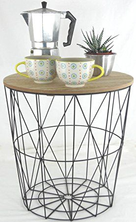 Metal wire small bedside occasional lamp table with lift off lid metal wire small bedside occasional lamp table with lift off lid amazon kitchen home greentooth Images