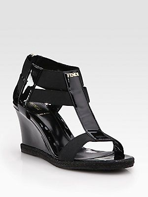 sleek authorized site high quality Fendi Carioca Patent Leather T-Strap Wedge Sandals | Leather wedge ...