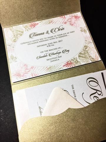 Destination Wedding Invitation - Pocketfold Wedding Invitation - TIANN – SoireeCustomPaperCo