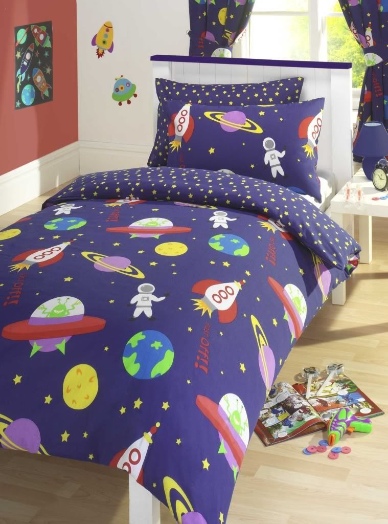 Blast Off Space Bedding Twin Duvet Cover Comforter Set Little Astronauts Alliens