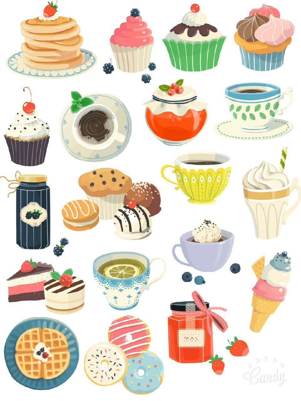 Cute Food Printable Stickers