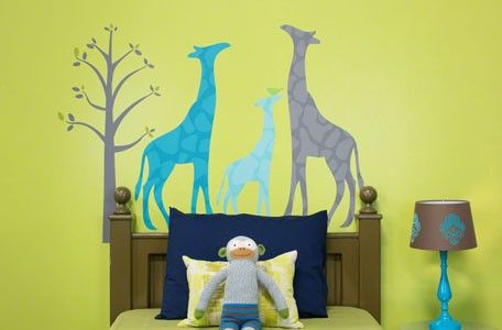 """Modern Giraffe - Blue"" Medium reusable fabric wall decal set by Stacy Amoo-Mensah for Oopsy daisy, Fine Art for Kids $79"